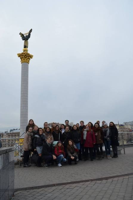 Our group - Famous Maidan in background